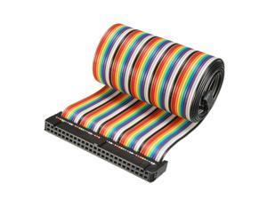 IDC 50 Pins Wire Flat Rainbow Ribbon Cable 66cm 2.54mm Pitch 2pcs