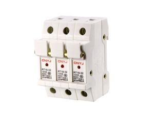 DIN Rail Mount Fuse Holder 3 Pole RT18-32 10mmx38mm with Indicator Light White