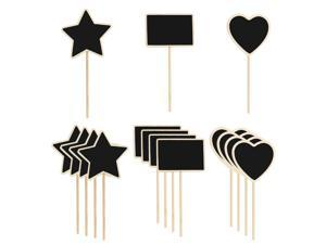 15pcs Mini Chalkboards Signs with Supporter Wood Delicate Design Chalkboard Tag for Message Board Signs Table Number Reminder