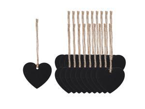 20pcs Mini Chalkboards Signs with Hang Rope Wood Heart Design DIY for Text Message Memo Number Reminder Price Tag