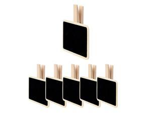 6pcs Mini Chalkboards Signs with Clips Wood Chalkboard Tag for Weddings Party Message Board Notes Table Number Reminder Price Tag