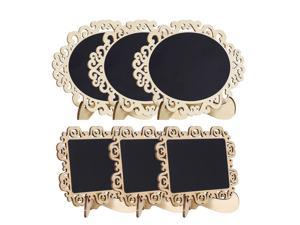 6pcs Mini Chalkboards Signs with Base Stand Wood Delicate Design Chalkboard Tag for Message Board Signs Table Number Reminder