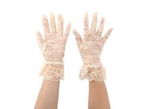 Women Driving Spring Summer Lace Full Finger Sun Resistant Gloves Mittens Beige Pair
