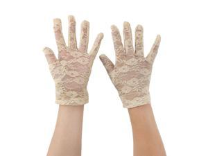 Ladies Summer Driving Cycling Lace Full Finger Mittens Sun Resistant Gloves Beige Pair