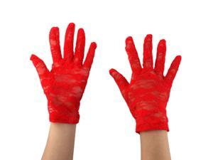 Ladies Summer Driving Cycling Lace Full Finger Mittens Sun Resistant Gloves Red Pair