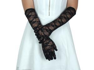 Adult Women Lace Full Finger Mittens Outdoor Sun Resistant Long Gloves Black Pair