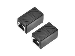 RJ45 Coupler Inline Connector Cat7 Cat6 Cat5e Ethernet Cable Extender Adapter Female To Female 36x43x20mm 2Pcs