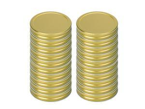 20 Pack Metal Wide Mouth Mason Jar Lids with Sealing Rings Food Storage Caps for Mason Canning Ball Jars Gold Tone