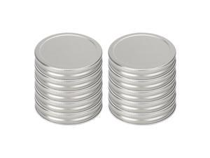 10 Pack Metal Wide Mouth Mason Jar Lids with Sealing Rings Food Storage Caps for Mason Canning Ball Jars Silver Tone