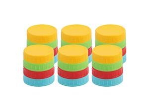 24 Pcs Colored Plastic Wide Mouth Mason Jar Lids Food Storage Cap for Mason Canning Ball Jars Green Sky Blue Red Yellow