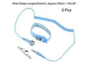 Anti Static Wrist Straps, ESD Components, Stainless Steel Magnetic Tray Grounding Wire Alligator Clip 2.55M Blue 3pcs