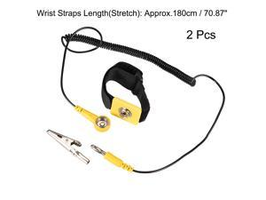 Anti Static Wrist Straps, ESD Components, Stainless Steel Magnetic Tray Grounding Wire Alligator Clip Yellow Black 2pcs