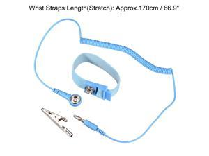 Anti Static Wrist Straps, ESD Components, Stainless Steel Magnetic Tray Grounding Wire Alligator Clip Light Blue