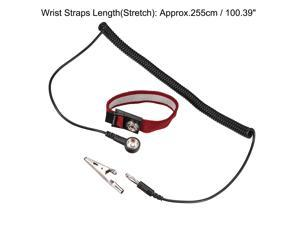 Anti Static Wrist Straps, ESD Components, Stainless Steel Magnetic Tray Grounding Wire Alligator Clip Red Black