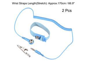 Anti Static Wrist Straps, ESD Components, Stainless Steel Magnetic Tray Grounding Wire Alligator Clip Light Blue 2pcs