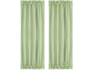Thermal Insulated French Door Curtain Side Panels - Blackout Curtains Drape 25x72 Inch Room Darkening for Glass Doors 2 Panels Green