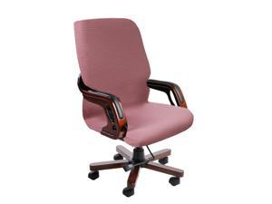 Durable Stretch Waterproof Office Chair Cover, Elegant Wave Jacquard Pattern High Back Computer Chair Slipcovers for Universal Rotating Boss Chair with Armrest Large Size Pink