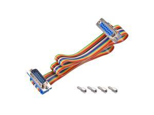 IDC Rainbow Wire Flat Ribbon Cable DB15 Male to DB15 Female Connector 2.54mm Pitch 19.7inch Length