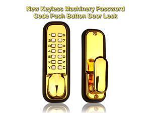 Generic Weatherproof Mechanical Keyless Password Metal Door Lock for Home Office Color Gold