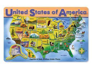 Melissa & Doug: USA Map- Wooden Jigsaw Puzzle