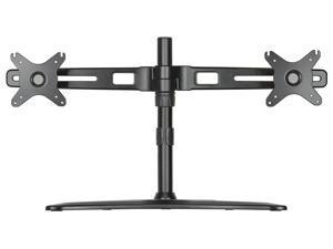 "DoubleSight Dual Monitor Easy Stand, Universal Vesa Mount, Free Standing, Fully Adjustable Height, Tilt, Pivot, accomodates up to 27"" LED LCD Monitors, VESA Bracket 75mm & 100mm, (Model: DS-227STN)"