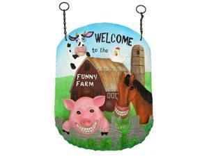 """IWDSC 0179-4840 12"""" Resin Funny Farm Wall Bird Feeder"""
