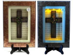 Spiritual Harvest Vine Cross Lighted Shadow Box-0193-0774