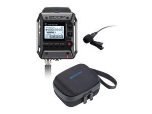 Zoom F1 Field Recorder with Lavalier Microphone and Zoom CBF-1LP Carrying Bag