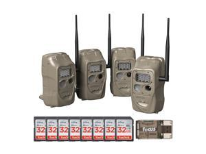 Cuddeback CuddeLink J Series 20MP Trail Camera (4pk) with 8 SD Cards and Reader.