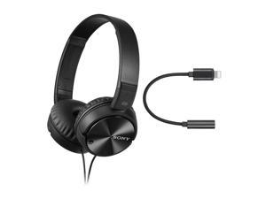 Sony MDRZX110NC Noise Cancelling Headphones and Lightning to 3.5mm Audio Adapter