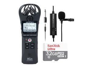 Zoom H1n Digital Handy Recorder w/ Knox Gear Clip-On Lavalier Microphone Bundle