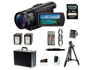 SONY AX100: Sony FDR-AX100/B FDRAX100 AX100 4K Ultra HD Camcorder (Black) + Sony 64GB SDXC Memory Card + 67mm Photo Essentials Kit + Power Battery + Accessory Kit