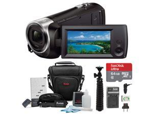 Sony CX405 Handycam 1080p Camcorder with 64GB SD Card and Battery Pack Bundle