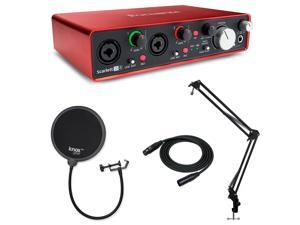Focusrite Scarlett 2i4 Interface with 2 XLR, Knox Studio Stand and Pop Filter