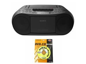 Sony Stereo CD/Cassette Boombox Home Audio Radio, Black (CFDS70BLK) and Cleaner