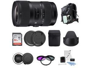 Sigma 18-35mm f/1.8 DC HSM Art Lens for Canon DSLR Cameras with 64GB SD Card and Accessory Bundle