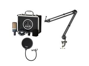 AKG C214 PRO Large-Diaphragm Condenser Microphone, With Pop Filter & Boom Arm