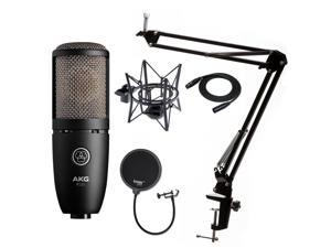 AKG P220 Condenser Microphone with Knox Gear Pop Filter and Boom Arm Stand