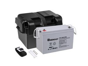 Renogy 12V 100Ah Deep Cycle AGM Battery w/Battery Box for RV, Solar Marine and Off-grid Applications
