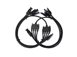 Renogy 1 Pair Male and Female Connectors Y Branch Solar Panel Adaptor Cable Branch Connector 30A Extra Long Cable 1 Male to 4 Female MFFFF + 1 Female to 4 Male FMMMM Set Wire T Splitter