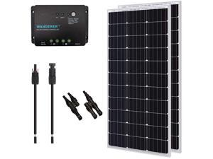 Renogy 200W 12V Monocrystalline Solar Panel Bundle Kit with 200W Solar Panel, 30A Charge Controller, 9in Adaptor Kit, A Pair of Branch Connectors