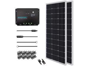Renogy 200 Watt 12 Volt Monocrystalline Solar Starter Kit with Wanderer 30A PWM Controller
