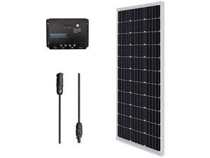 Renogy 100W 12V Monocrystalline Solar Panel Bundle Kit with 100W Solar Panel, 30A Charge Controller, 9in Adaptor Kit, A Pair of Branch Connectors