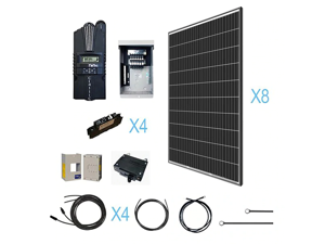 Renogy 2500 Watt 48 Volt Monocrystalline Kit with 8 Pcs of 320W Panel and Midnite MPPT Controller, 2500W, Off-Grid Solar System for Cabin/RV/Boat