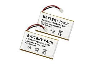 Battery 2-Pack for Plantronics CS50, CS55, HL10, Headsets 65358-01, 64399-01 - 230mAh 2x