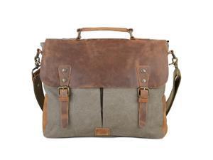 98ee1c8b5 Gootium 21108AMG-L Vintage Canvas Real Leather Messenger Bag 15.6