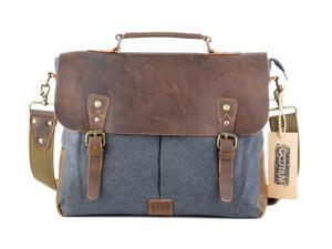 "Gootium 21108GRY-L Vintage Canvas Real Leather Messenger Bag 15.6"" Laptop Shoulder Bag Men's Handbag - Grey-Large"