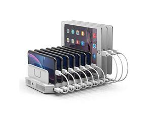 Unitek Charging Station for Multiple Devices, USB Charging Dock with Adjustable Dividers, QC 3.0 and SmartIC, iPhone, iPad, Tablet Organizer Stand-(UL Certified)