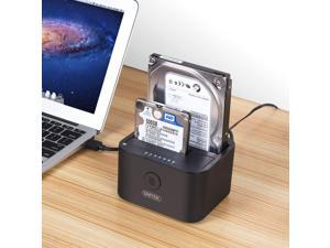 Unitek USB 3.0 to SATA I/II/III Mini Dual Bay External Hard Drive Docking Station for 2.5/3.5-Inch HDD SSD, Offline Clone Duplicator Function Support UASP & 10TB with 12V/3A Power Adapter