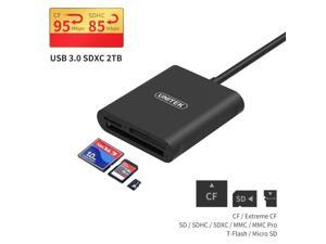 Unitek 3-Slot USB 3.0 Compact Card Reader, Read 3 Cards Simultaneously, Aluminum SD Micro SD CF Card Adapter Writer, Tf, SD, Micro SD, SDXC, SDHC, Compact Flash Memory Card Reader, Black